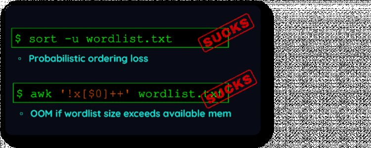 Duplicut - Remove Duplicates From MASSIVE Wordlist, Without Sorting It (For Dictionary-Based Password Cracking)